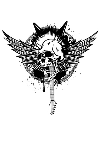 punk hair: Illustration skull punk with wings, guitars and barbed wire