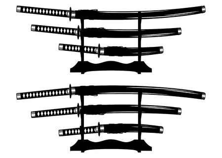 tsuka: Vector illustration katana, wakizashi and tanto on stand Illustration