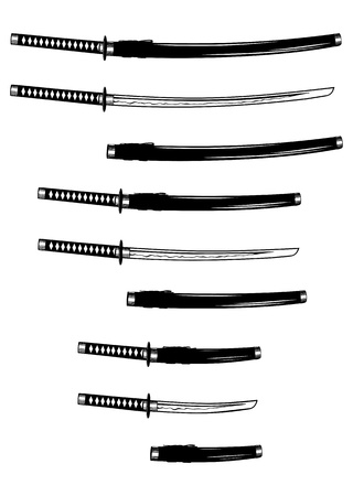 Vector illustration katana, wakizashi and tanto Illusztráció