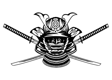 Samurai helmet , menpo with yodare-kake and crossed katanas Imagens - 19375123