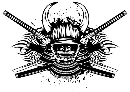 tsuka: Vector illustration samurai helmet with horns menpo with yodare-kake, crossed katana and saya