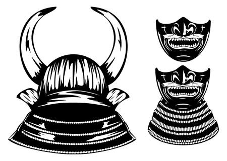 daimyo: Vector illustration samurai helmet with horns menpo with yodare-kake