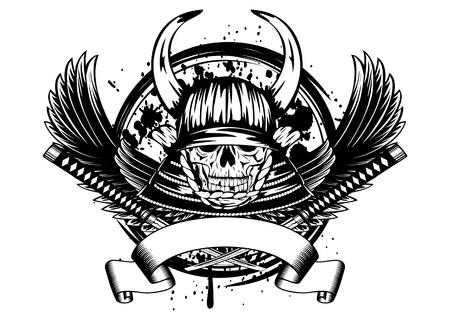 guerrero samurai: Ilustraci�n del vector del cr�neo en el casco de samurai con cuernos y alas