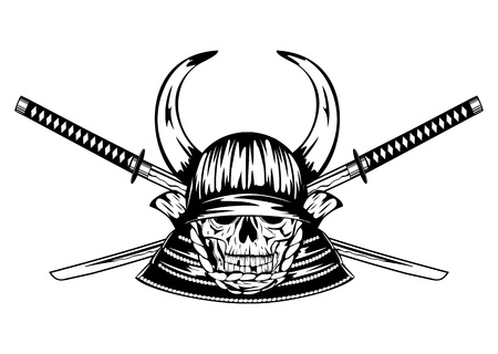 tsuka: Vector illustration skull in samurai helmet with horns and crossed samurai swords Illustration