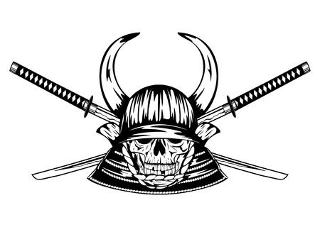 daimyo: Vector illustration skull in samurai helmet with horns and crossed samurai swords Illustration