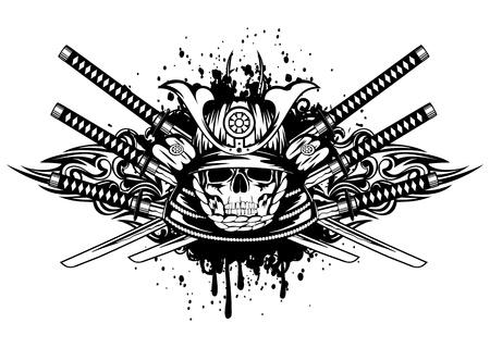 guerrero samurai: Ilustraci�n del vector del cr�neo en el casco de samurai y cruzaron espadas del samurai