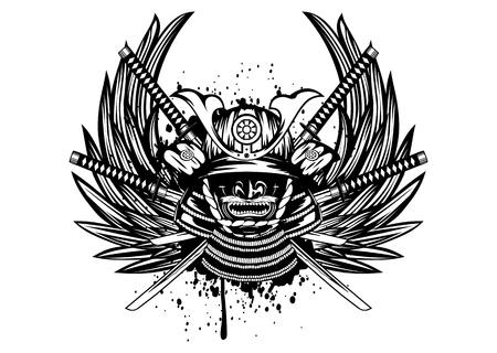 Vector illustration samurai helmet, menpo with yodare-kake, crossed katana and wings Stock Illustratie