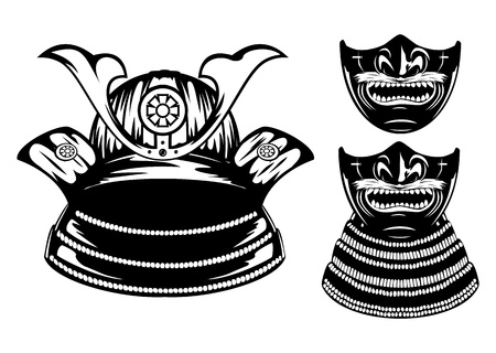 samurai warrior: Vector illustration samurai helmet, menpo with yodare-kake