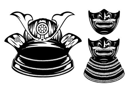 mask protection: Vector illustration samurai helmet, menpo with yodare-kake