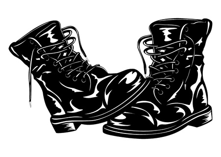 Vector illustration black leather army boots Çizim