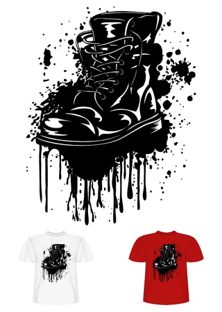 worn sign: Vector illustration t-shirt design army boot and splashes