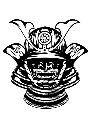 ronin: Vector illustration samurai helmet, menpo with yodare-kake