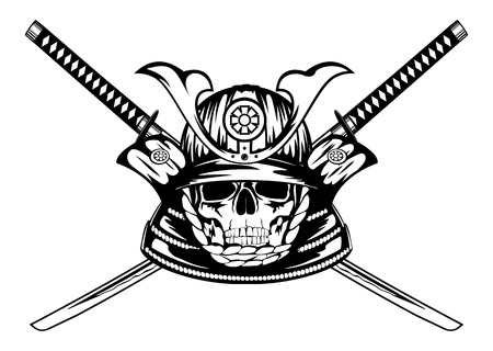 tsuka: Vector illustration skull in samurai helmet and crossed katanas