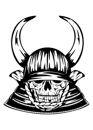 Vector illustration skull in samurai helmet with horns Vector