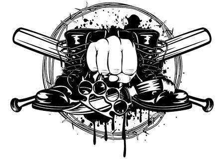 pandilleros: Ilustración vectorial palos cruzados, botas, cuchillo y manopla Vectores