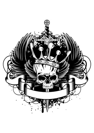 Vector illustration skull with crown, wings and sword Çizim