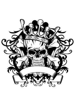 crossbones: Vector illustration skull with crown