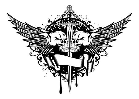 deces: Vector illustration de deux cr�nes, ailes et l'�p�e