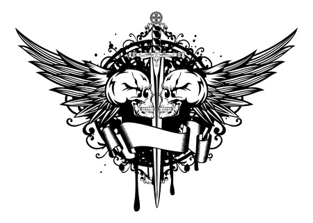 Vector illustration two skulls, wings and sword Vector