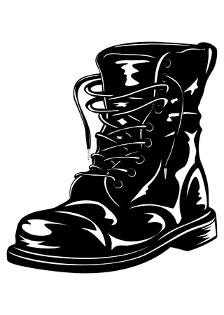 army background: Vector illustration black leather army boot