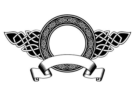 cross and wings: Ilustraci�n Marco del vector con patrones celtas y la bandera Vectores