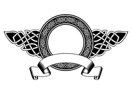 Vector illustration frame with celtic patterns and banner Illustration