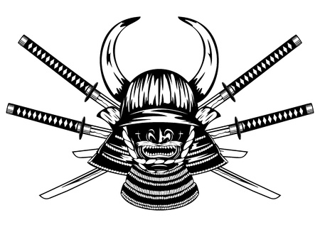 Samurai helmet with horns menpo with yodare-kake, crossed katanas Vector