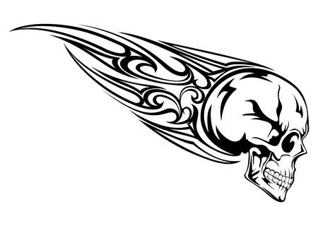 Vector illustration skull with tribal Stock Illustratie