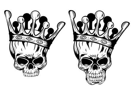 Vector illustration skulls with crowns Çizim