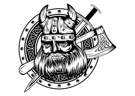 scandinavian people: Vector illustration old viking in helmet with horns and board, axe, sword