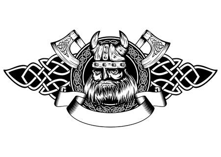 vikingo: Ilustración vectorial viejo vikingo en el casco con cuernos y patrones celtas