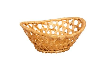 Wattled wooden basket isolated on white background photo