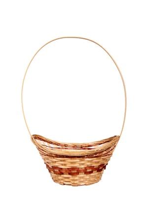 wickerwork: Wattled wooden basket isolated on white background