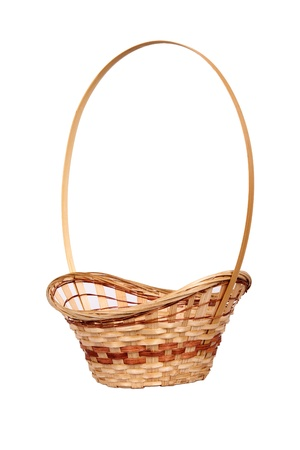 hand woven: Wattled wooden basket isolated on white background