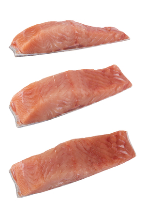 chum: Cut slices of fish Siberian salmon cut isolated on white background