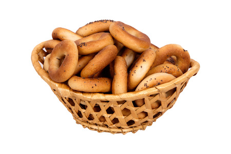 baranka: Basket with dry bread-ring  isolated on white background