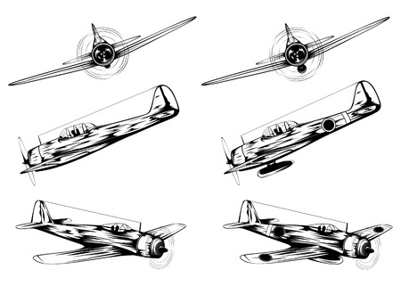 Vector illustration of old military planes and planes of kamikaze Çizim