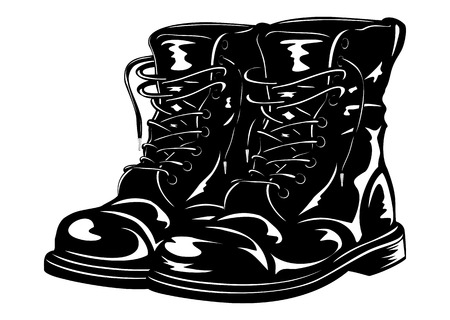 Vector illustration black leather army boots Ilustração