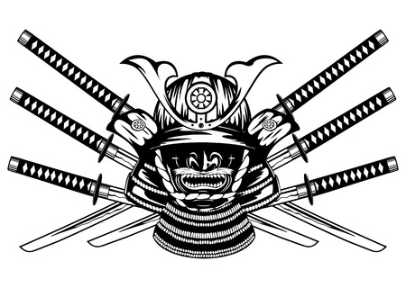 tsuka: Vector illustration samurai helmet, menpo with yodare-kake, crossed katanas Illustration
