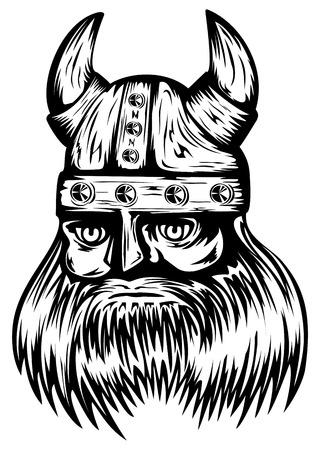 Vector illustration old viking in helmet with horns Stock Vector - 24191040