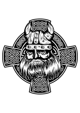 celtic: Vector illustration viking and celtic cross Illustration