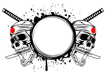 shogun: Two skulls with bandage on head hachimaki, crossed Japanese swords and a grundge frame Illustration
