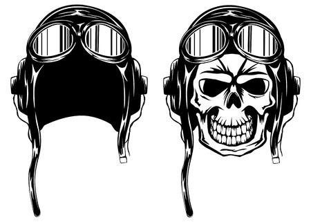 Vector illustratie van de schedel van de kamikaze in de helm en bril Stock Illustratie