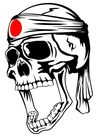Vector illustration of skull of kamikaze with bandage hachimaki on head Vector
