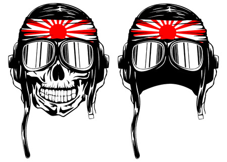 Vector illustration of skull of kamikaze in helmet with hachimaki and glasses