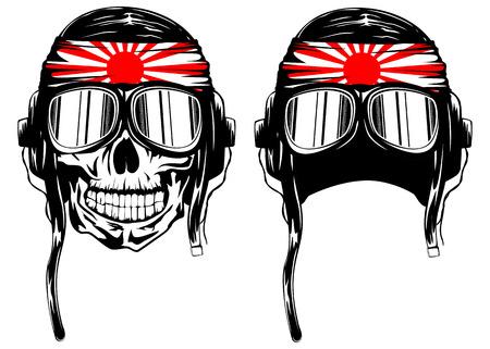 Vector illustration of skull of kamikaze in helmet with hachimaki and glasses
