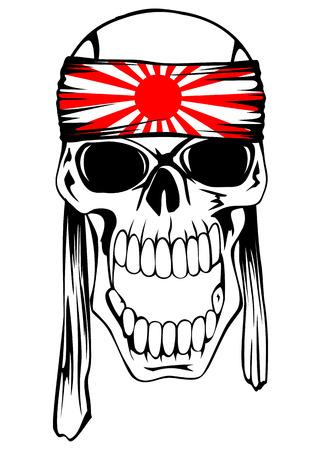 kamikaze: Vector illustration of skull of kamikaze with bandage hachimaki on head