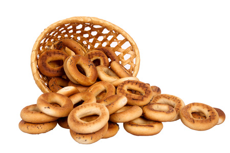 boublik: Basket with dry bread-ring  isolated on white