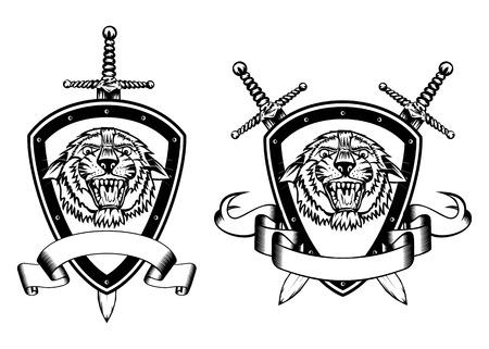 Illustration board sword and tiger head Vector