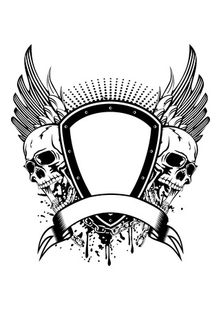 Illustration board wings and skulls Vector